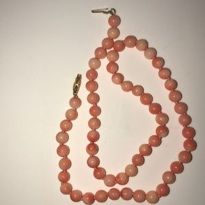 """Vintage 16"""" angel skin coral necklace 14k natural"""